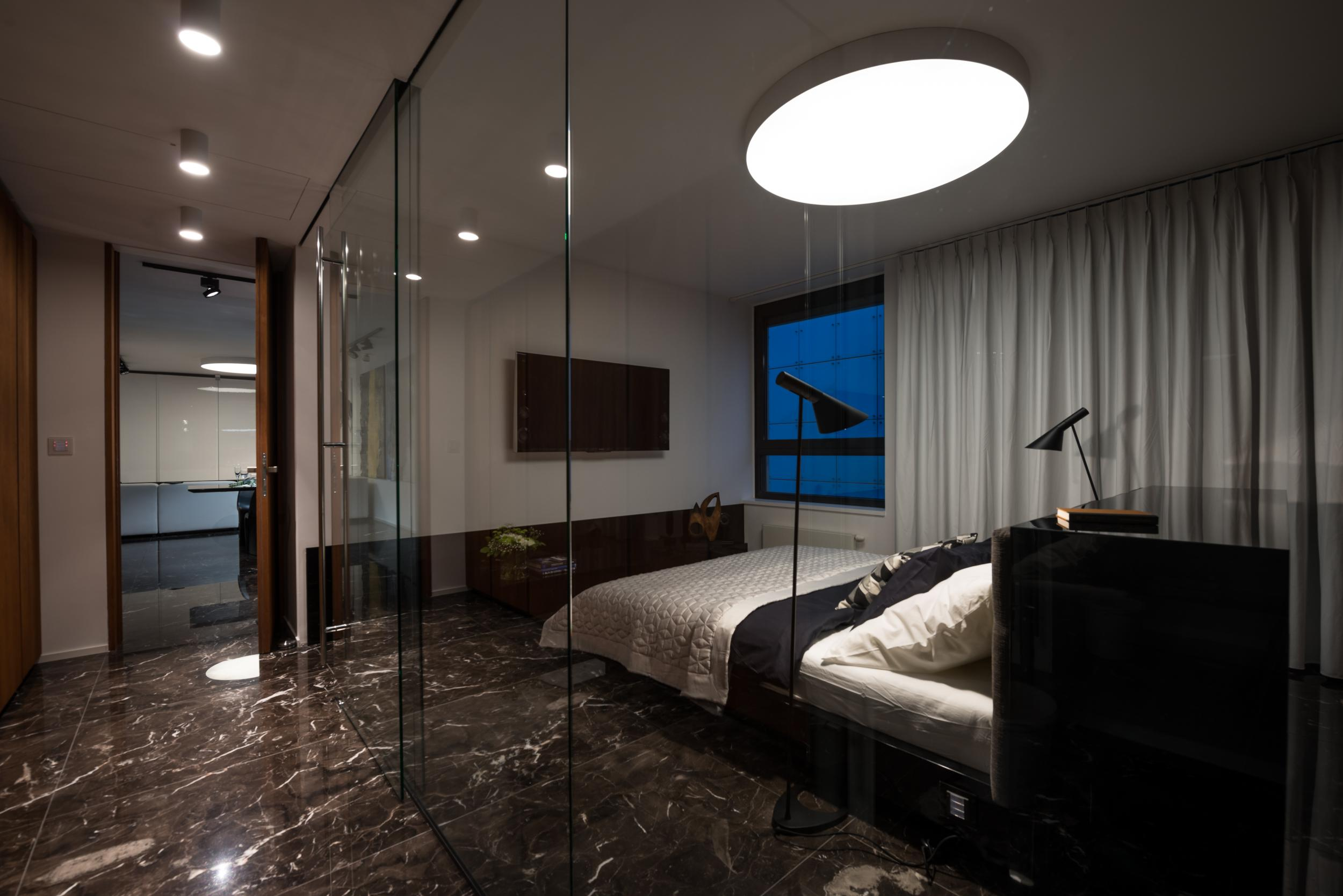 Bedroom at night time - When Necessary The Bedroom Can Be Separated From The Night Corridor By An Electric Opaque Blind Made Of The Same Material As The One In Front Of The Window