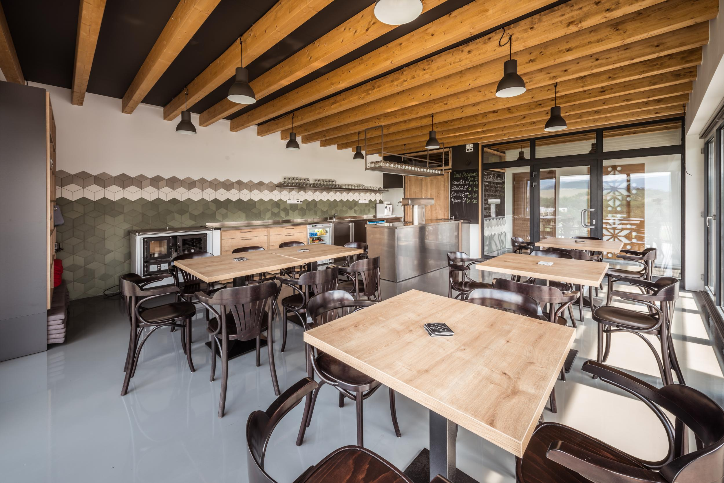Natural interior of restaurant at the distillery stara