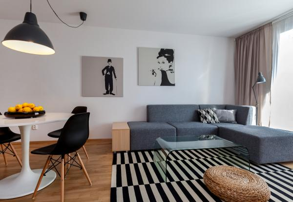 Living room with kitchen, Meinl Residence, Bratislava, Slovakia