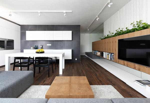 Interior design of a living room with a kitchen and dining room, Bratislava, Slovakia