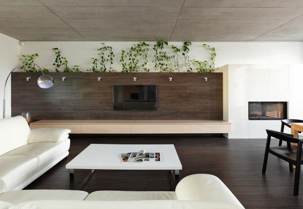Modern interior bungalow with exposed concrete ceiling, Bratislava, Slovakia
